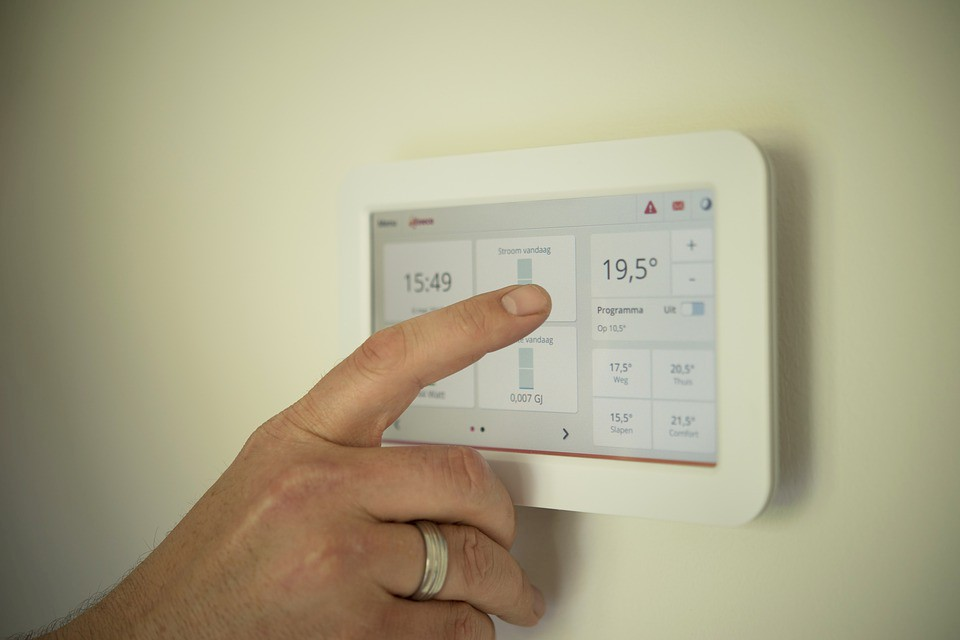 Touch screen heating controls on the wall